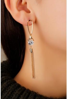 Morvizyon Dore Renk Metal Kristal Taşlı Bayan Küpe Bkp1261