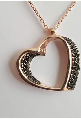 Tyelo Takı, Gümüş Rose Yaldız Kaplamalı, Zirkon Taşlı, 3D Kalp Kolye