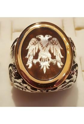 Tyelo Takı, Gümüş Kaplumbağa Kabuğu, Sedef İşlemeli, Çift Başlı Kartal Yüzük