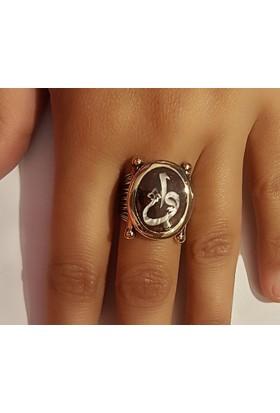 Tyelo Takı, Gümüş Kaplumbağa Kabuğu Üzerine Sedef İşlemeli, Vav / Elif Harfli Yüzük