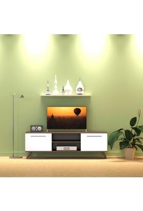 Nur Mobilya 140 cm Tv Sehpası Gövde Ceviz Kapak Beyaz