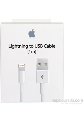 Apple Lightning Şarj ve Data Kablosu (1 Metre) iPhone 5-5S-SE-6-6S-7-8-Plus MD818ZM/A (Apple Türkiye Garantili)