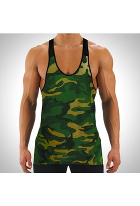 Sportono Yeşil Kamuflaj Askeri Fitness Sporcu Atleti