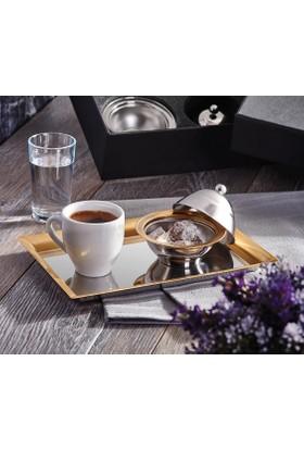 Narin Kahve Keyfi Seti 2 Kişilik - Altın Rengi Saten