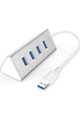 Aukey Usb Hub With 4 Usb 3.0 Ports For Data Transfer, Desktop Aluminum Hub