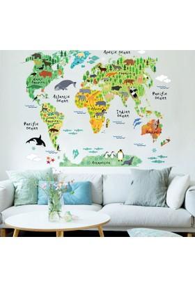 Zooyoo Renkli Büyük Hayvanlı Resimli Dünya Haritası Günün Fırsatı Ev Dekoratif Çocuk Odası Duvar Sticker