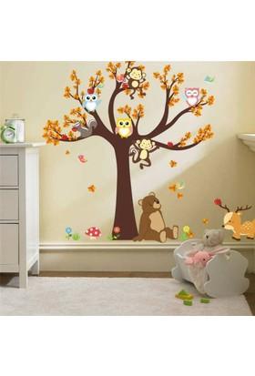 Zooyoo Çocuk Ve Bebek Odası Orman Ağaç Maymun Kelebek Ayı Geyik Baykuş Duvar Görsel Sticker