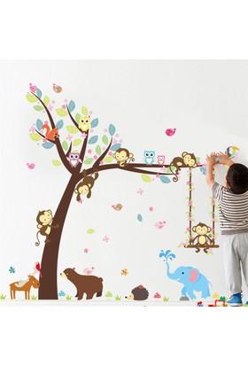 Zooyoo Çocuk Ve Bebek Odası Sevimli Orman Hayvanları Ayı Fil Maymun Geyik Baykuş Duvar Sticker 116X104 Cm