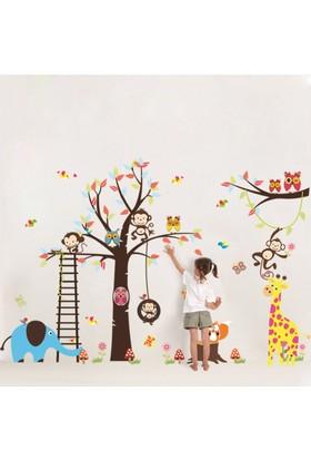 Zooyoo Çocuk Ve Bebek Odası + Kreş Anaokulu Asya Ormanları Sevimli Hayvanlar Sticker Xxl Boyut 235X140 Cm