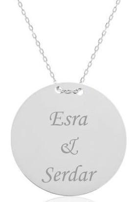 Hediyemis İsim Yazılabilen Gümüş Plaka Kolye Bayan Gümüş Kolye 3 Renk 413Dna
