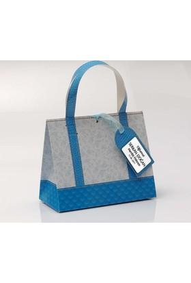 Mevlid Hediyesi Mavi Tasarım Karton Çanta - Kişiye Özel