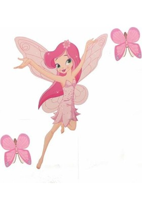 Veronya Çocuk Odası Prensess Sticker-Yapıştırma Prenses Kelebek Takımı-İki Kelebek Bir Prenses-Dijital Baskı