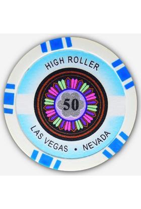 Pusula Oyun High Roller 25 Adet Poker Çipi (Las Vegas Nevada 11,5 Gr Clay Poker Fişi, 50'Lik Chip)