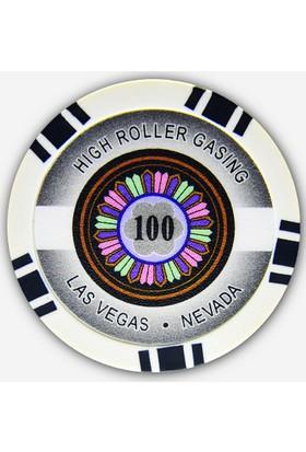 Pusula Oyun High Roller 100' Lük 25 Adet Poker Çipi (Las Vegas Nevada 11,5 Gr Clay Poker Fişi, Poker Chipi)