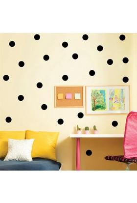 BigWall Puantiyeli Duvar Stickerı Dekorasyon Sticker Puan Çocuk Odası Figürü Polka Dots Siyah