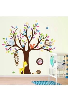 Zooyoo Maymun Zürafa Baykuş Kirpi Kuş Koala Sevimli Asia Hayvanları Çocuk Odası Ev Duvar Sticker