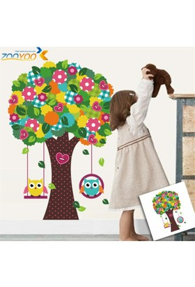 Zooyoo Çocuk Ve Bebek Odası Salıncaklı Kalpli Ağaç Baykuş Doğa Görsel Resim Duvar Sticker 97X64 Cm Dir