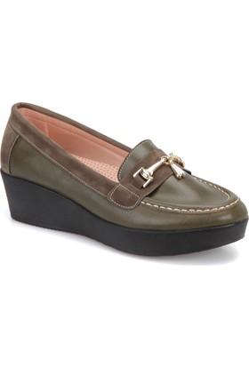Miss F Dw17059 Haki Kadın Dolgu Topuk Ayakkabı