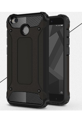 Case 4U Xiaomi Redmi 4x Kılıf Çift Katmanlı Tank Kapak Siyah
