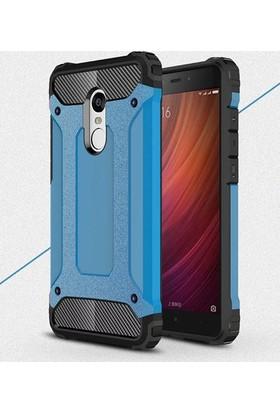 Case 4U Xiaomi Redmi Note 4 Kılıf Çift Katmanlı Tank Kapak Mavi
