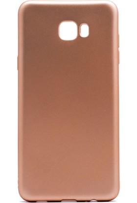 Case 4U Samsung Galaxy C7 Pro Mat Silikon Kılıf Premier Altın