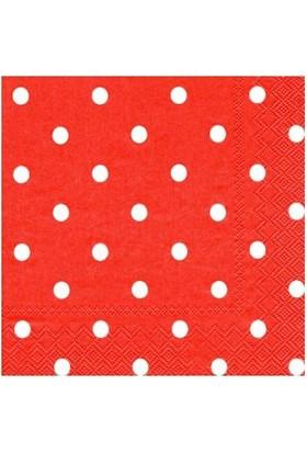 KullanAtMarket Kırmızı Puantiyeli Peçete 33x33cm