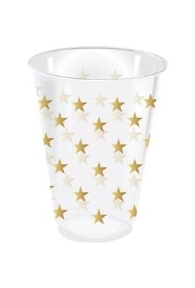 KullanAtMarket Altın Yıldız Puantiyeli Şeffaf Bardak 25li