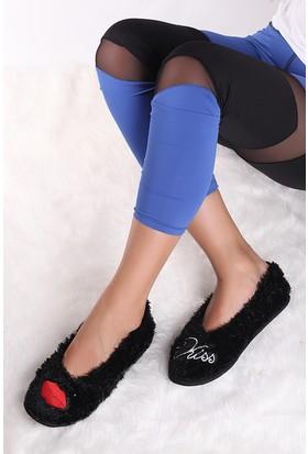 Pembe Potin Siyah Ev Ayakkabısı