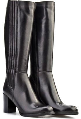 Cabani Topuklu Fermuarlı Günlük Kadın Çizme Siyah