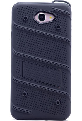 KNY Samsung Galaxy A7 2017 Kılıf Ultra Korumalı Standlı Slikon İron Case+Cam