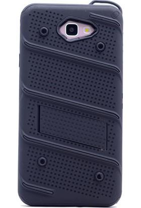 KNY Samsung Galaxy J5 Prime Kılıf Ultra Korumalı Standlı Slikon İron Case+Cam