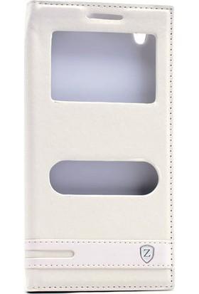 KNY Vestel Venus 5530 Kılıf Gizli Mıknatıslı Pencereli+Cam