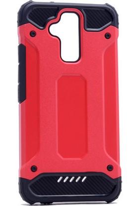 KNY Asus Zenfone 3 Max 5.2'' ZC520TL Kılıf Çift Katmanlı Armour Case+Cam