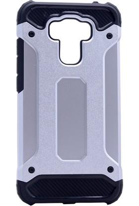 KNY Asus Zenfone 3 Max 5.5'' ZE553KL Kılıf Çift Katmanlı Armour Case+Cam