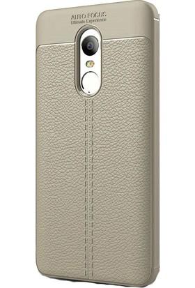 KNY Xiaomi Redmi Note 4 Kılıf Deri Görünümlü Lux Niss Silikon+Cam