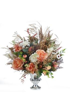 Kuru Bitkili Karışık Çiçekli Kupa Vazo Yapay Çiçek Aranjmanı