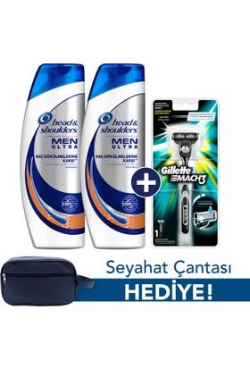 Head & Shoulders Men Ultra Saç Dökülmelerine Karşı Şampuan 2 x 500 ml + Gillette Mach 3 Tıraş Makinesi