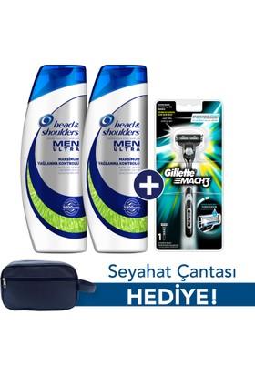 Head & Shoulders Men Ultra Maksimum Yağlanma Kontrolü Şampuan 2 x 500 ml + Gillette Mach 3 Tıraş Makinesi