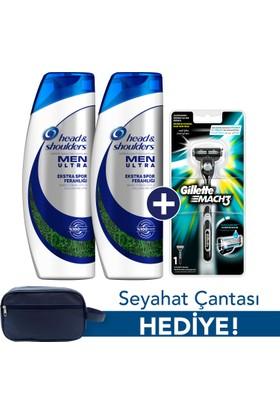 Head & Shoulders Men Ultra Ekstra Spor Ferahlığı Şampuan 2 x 500 ml + Gillette Mach 3 Tıraş Makinesi