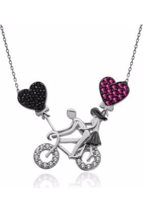 Gümüşsepeti Alışverişrengi Bisikletli Aşıklar Gümüş Kolye