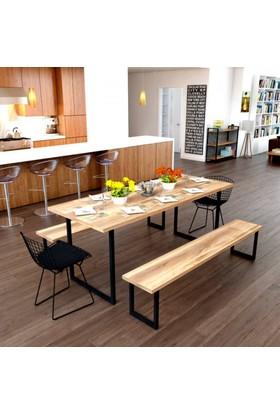 Endustriyel Mobilya Mandalina Yemek Odası