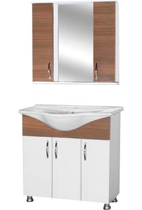 Hepsiburada Home Saydam Royal 100 cm Mdf Banyo Dolabı Teak Beyaz