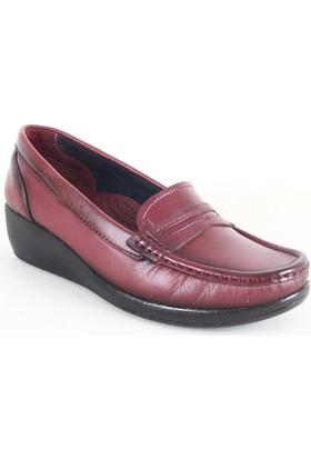 Comfort 82 Bayan Deri Günlük Ayakkabı Bordo