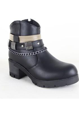 Conpax 1014 Bayan Kemerli Zincirli Topuklu Bot Siyah