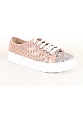 Wanetti 5309 Bayan Simli Günlük Ayakkabı Pudra