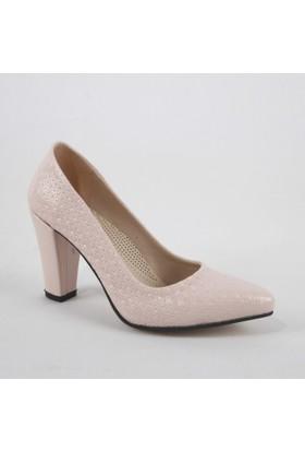 Yeystore Desniy 67 Bayan Desnle Topuklu Ayakkabı Pudra