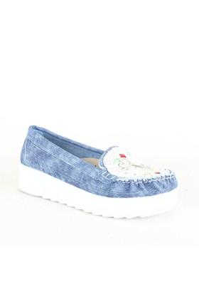 İlker Kundura Bayan Günlük Ayakkabı Mavi