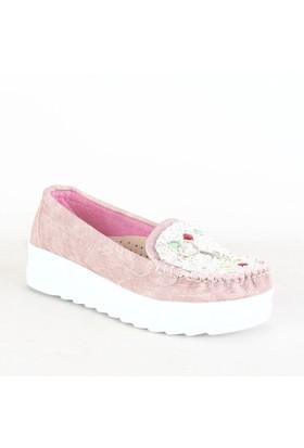 İlker Kundura Bayan Günlük Ayakkabı Pudra