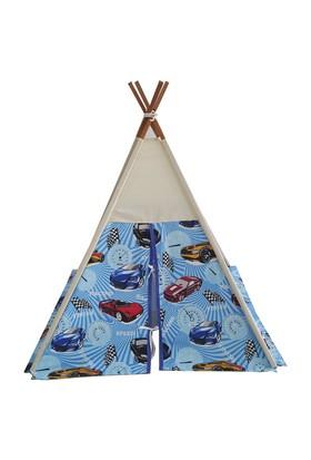 Janbebe Çocuk Oyun Çadırı Kızıl Derili Çadırı Oyun Evi %100 Pamuk Kumaş Mavi