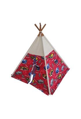 Janbebe Çocuk Oyun Çadırı Kızıl Derili Çadırı Oyun Evi %100 Pamuk Kumaş Kırmızı